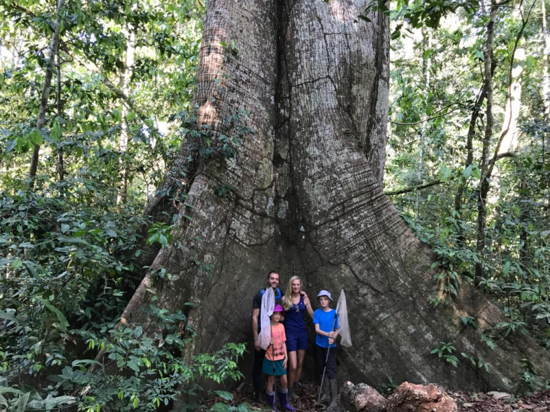 On a family volunteering holiday in Peru, a family take a photo on their Conservation Project.